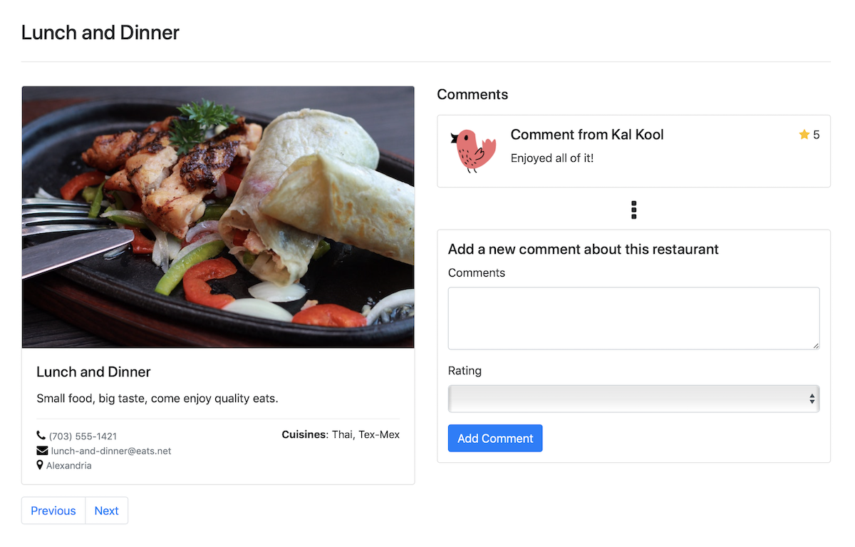 Restaurant Explorer - Entity Relationship Diagram