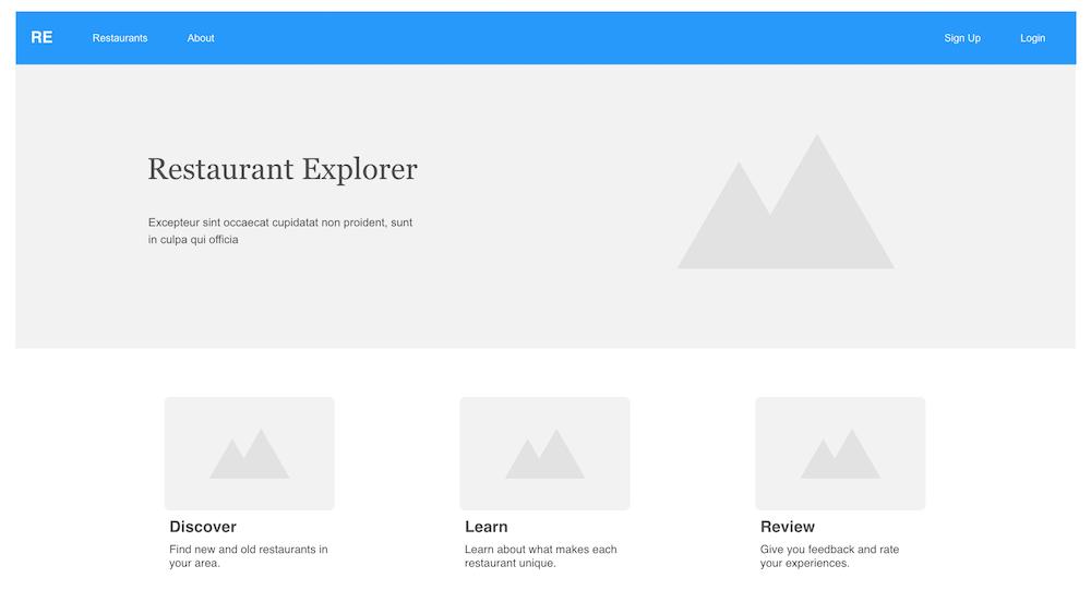 Restaurant Explorer - Wireframe - Home Page